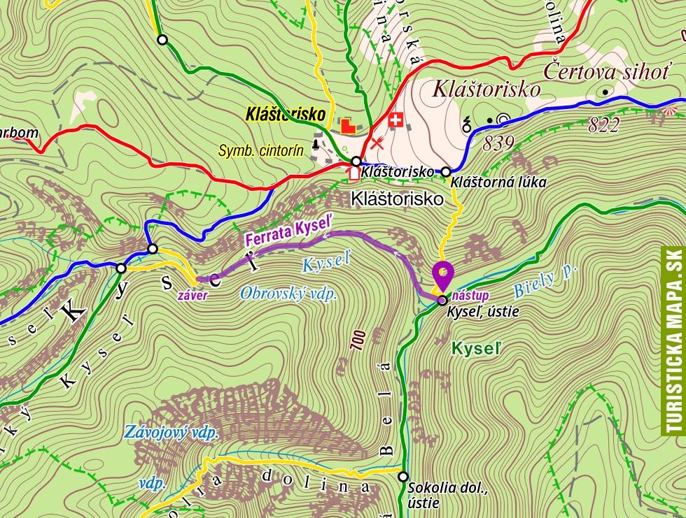 Mapa ferraty Kyseľ, otvoriť na mapy.hiking.sk