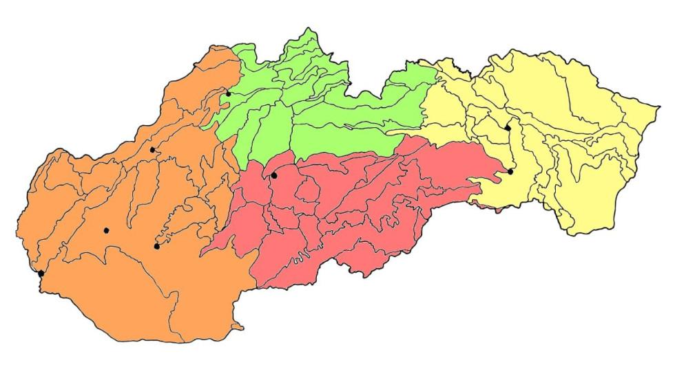 Rozdelenie geomorfologických celkov Slovenska na štyri skupiny