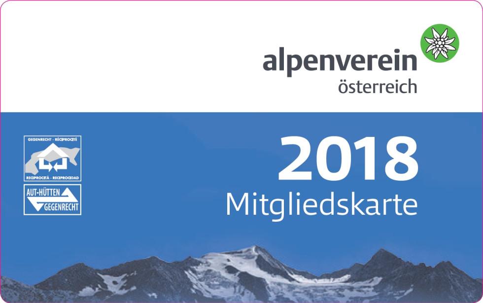 Členská karta Alpenverein pre rok 2018