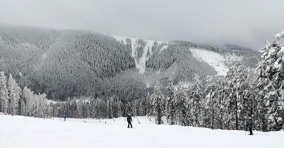 Adam lyžuje - na hrebeni už je hmla
