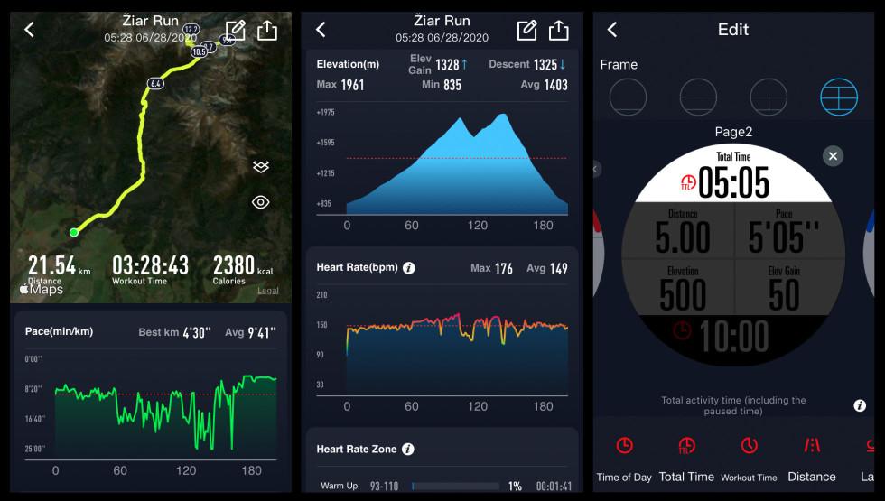 Aplikácia pre Android alebo iOS plnohodnotne zobrazuje všetky potrebné štatistiky. Lubovoľne si môžem nastaviť zobrazovanie dát na hodinkách pre každý druh aktivity.